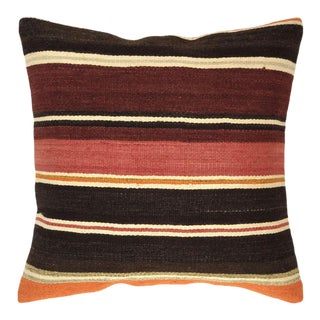"Rich Stripes Vintage Kilim Pillow | 18"" For Sale"
