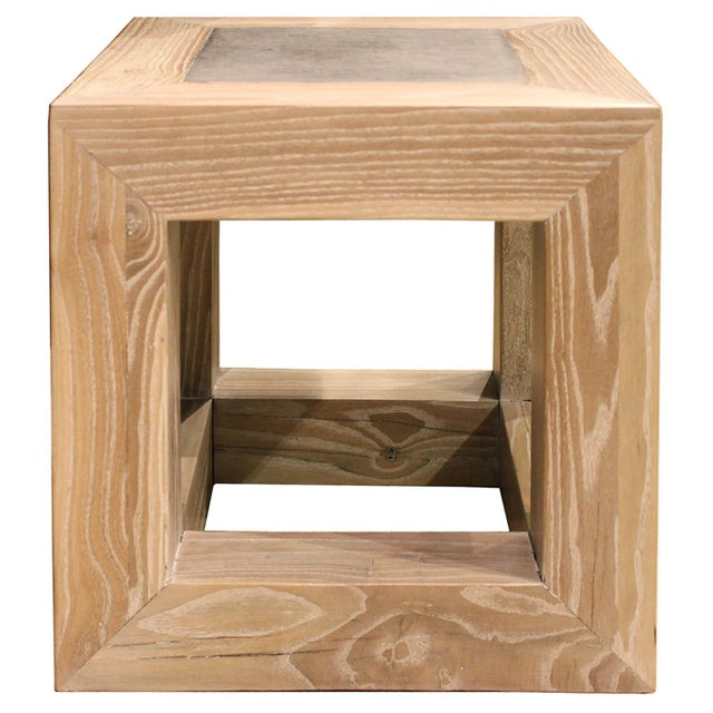 Elm Stone Top Cube Table For Sale - Image 7 of 7