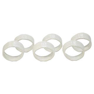 Antique White Ceramic Pottery Napkin Rings - Set of Six For Sale