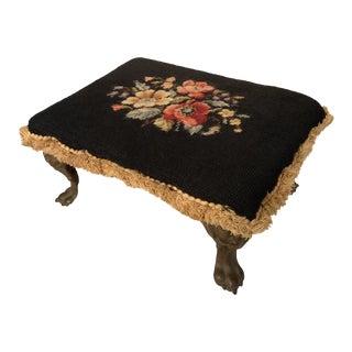 Antique Floral Needlepoint Gilt Footstool For Sale