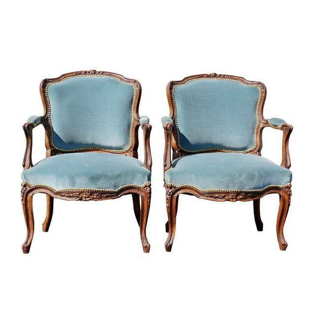 Pair of Louis XV Style Walnut Fauteuil For Sale - Image 11 of 11