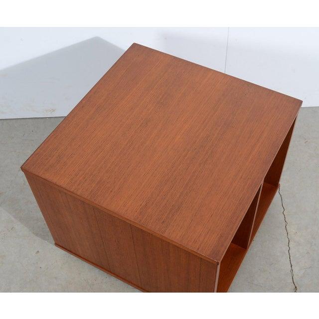 Bruksbo Bruksbo Danish Modern Teak Magazine Stand Teak Bookcase Vinyl Cart For Sale - Image 4 of 5