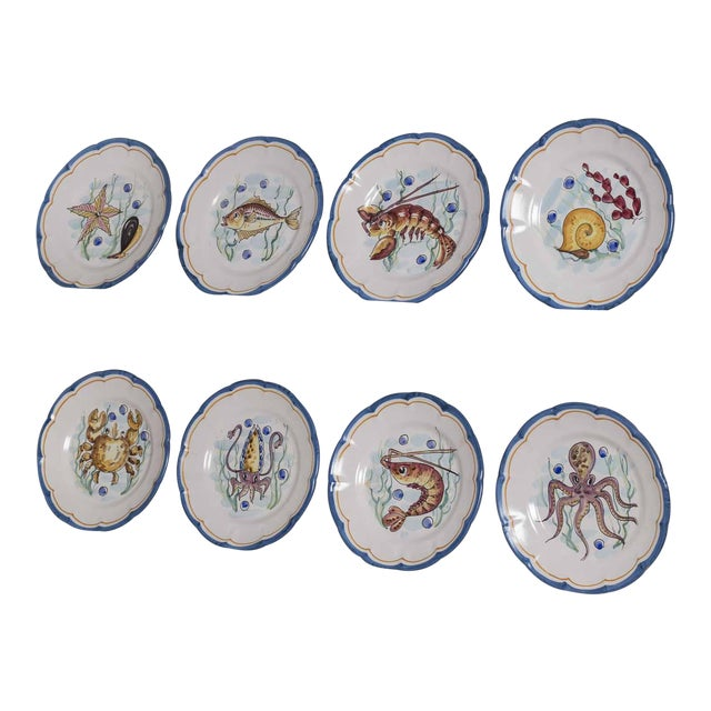 Late 20th Century Italian Hand Painted Plates - Set of 8 For Sale