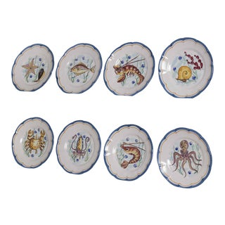 Set Eight Italian Hand Painted Plates, Vietri