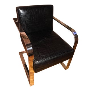 Ralph Lauren Embossed Crocodile Leather Stainless Steel Club Chair