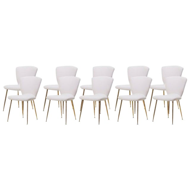 Set of 10 Brass Leg Dining Chairs by Louis Sognot for Arflex, Italy, 1959 For Sale