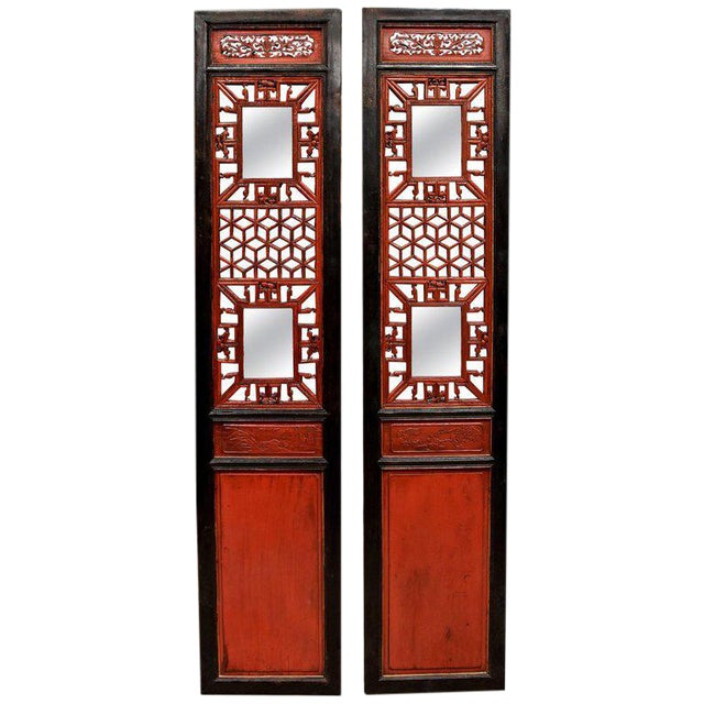 Antique Chinese Red and Black Screens - a Pair For Sale
