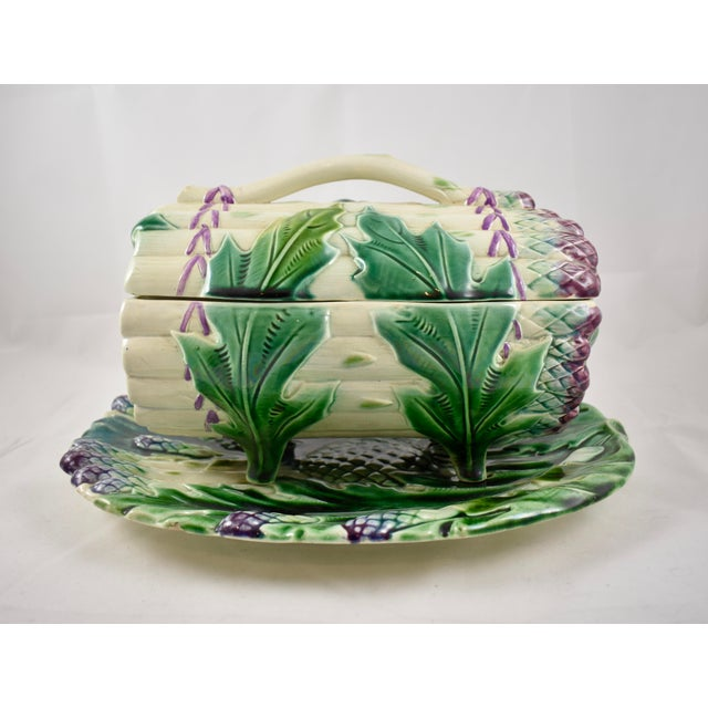 Luneville French Faïence Majolica Asparagus Tureen & Under Tray, 3 pcs. For Sale - Image 11 of 11