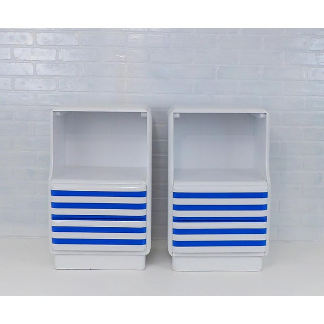 Blue Mid-Century Modern White & Blue Striped Nightstands - A Pair For Sale - Image 8 of 10