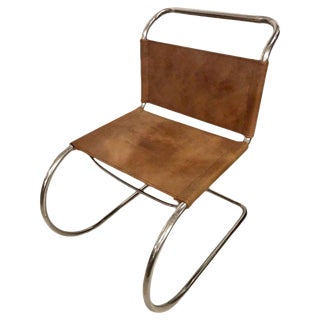 Mies Van Der Roche for Knoll Style Tubular Side Chair For Sale