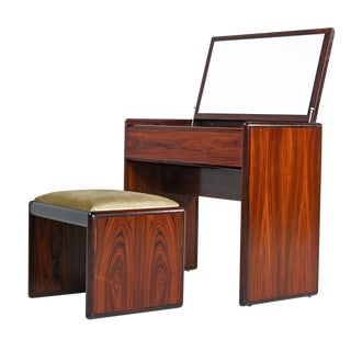Vintage Danish Modern Rosewood Flip-Top Storage Vanity Desk and Stool Set