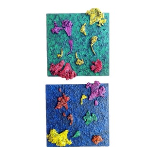 Contemporary Relief Abstract Diptych Oil Painting by Diane Grant - a Pair For Sale