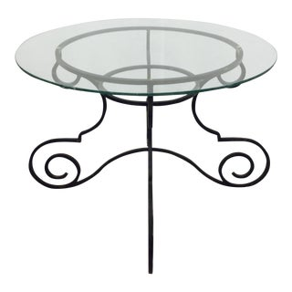 Vintage Wrought Iron & Glass Top Table