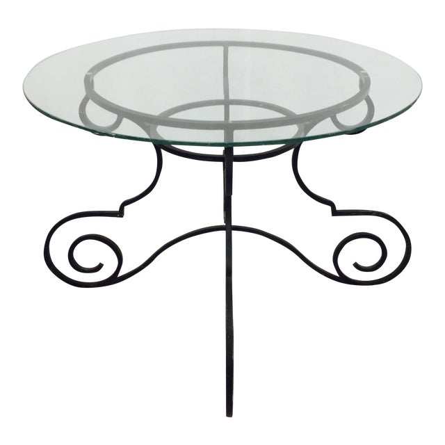 Vintage Wrought Iron & Glass Top Table For Sale