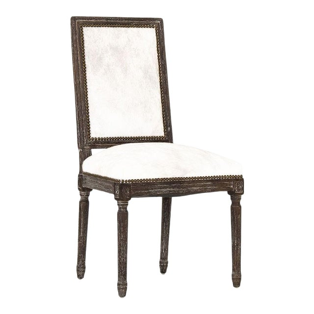 Audley Cowhide Side Chair in White For Sale