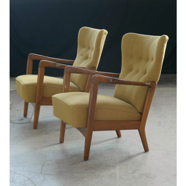 Fritz Hansen Danish Pair of Low Back Lounge Chairs With Open Armrests, 1940s For Sale - Image 11 of 13