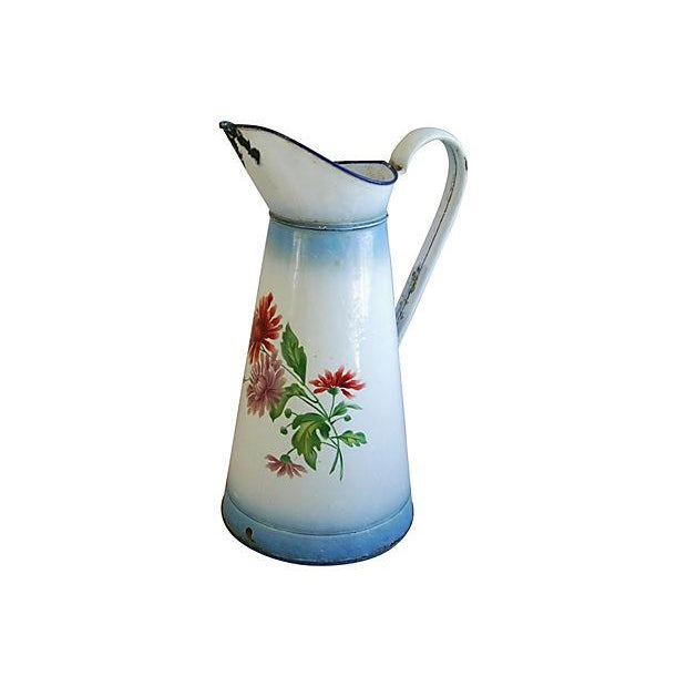 1920s Vintage French Hand-Painted Enameled Pitcher - Image 6 of 7