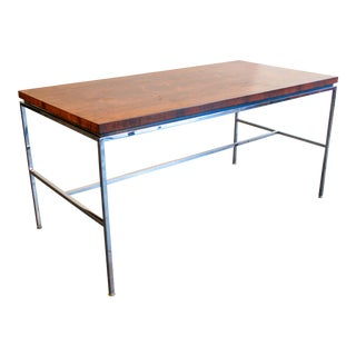 1960s Mid-Century Modern Drexel Walnut Top Chrome Legs Desk Table For Sale