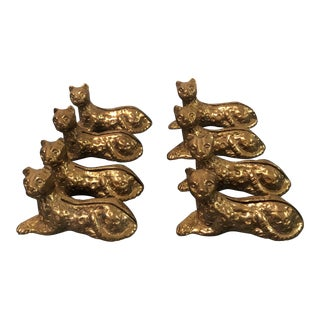 Vintage Leopard Brass Place Card Holders - Set of 8
