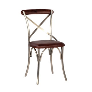 Nickel X Back Dining Chair For Sale
