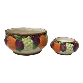 1992 Classic Fitz and Floyd Fruit Bowl and Candlestick Holder Set For Sale