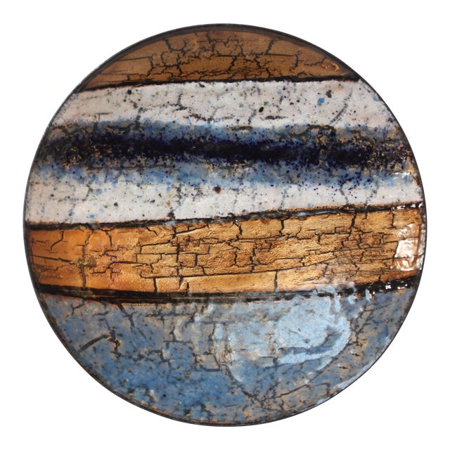 Modernist Blue, White and Gold Enamel on Copper Dish For Sale