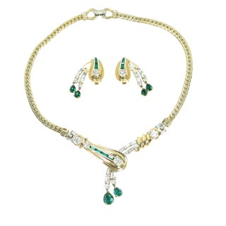 1940s Mazer Bros Gold & Rhodium EmErald Asymmetrical Necklace & Earrings Set For Sale