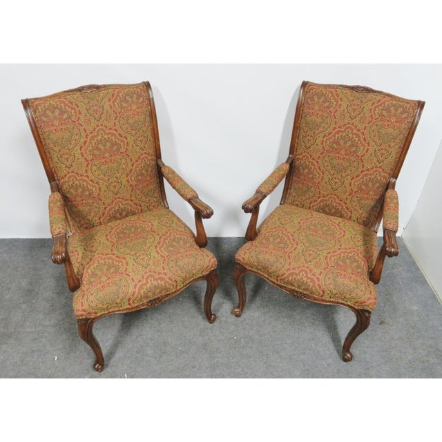 French Louis XV Carved Walnut Chairs by EJ Victor - a Pair For Sale - Image 3 of 8