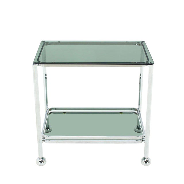 Metal Chrome Tinted Smoked Glass Rolling Tea Cart With Concealed Wheels For Sale - Image 7 of 7