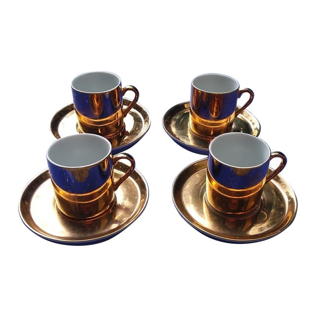 Gold Coffee Cups With Saucers - Set of 4 - Image 1 of 5