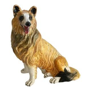 Italian Ceramic Collie Dog Lassie Statue For Sale