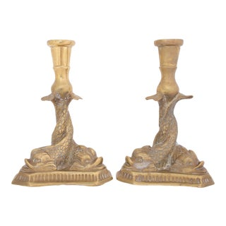 Brass Italian Dolphin Candlesticks - a Pair For Sale