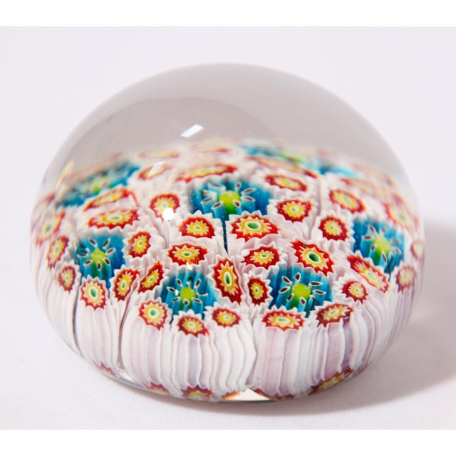 Contemporary Italian Vetreria Murano Venini Art Glass Millefiori Collectable Paperweight For Sale - Image 3 of 10