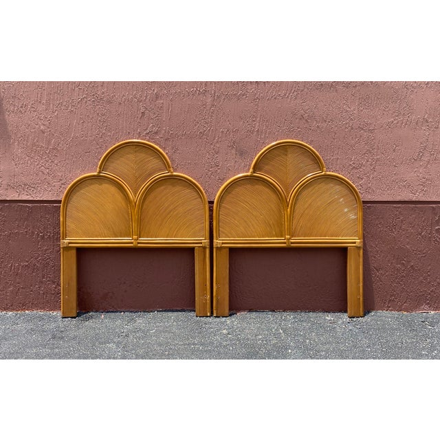 Wood Vintage Pencil Reed Headboards - a Pair For Sale - Image 7 of 13