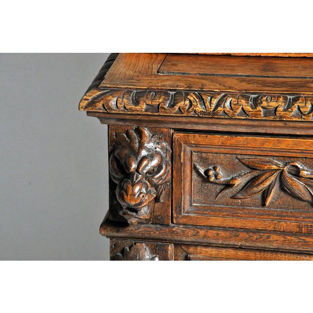 "Brown French ""Black Forest"" Style Hunting Oak Buffet Cabinet For Sale - Image 8 of 11"