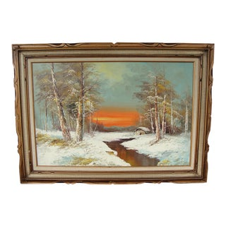 "Mid-Century ""Winter Sunset"" Oil on Canvas Painting For Sale"