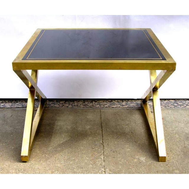 Silhouette Italian Modern X-Frame Handcrafted Bronze and Black Low Coffee Tables - a Pair For Sale - Image 4 of 11