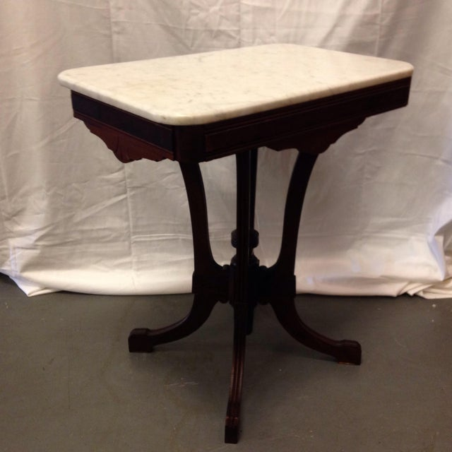 Antique Art Deco Table With Marble Top - Image 2 of 6