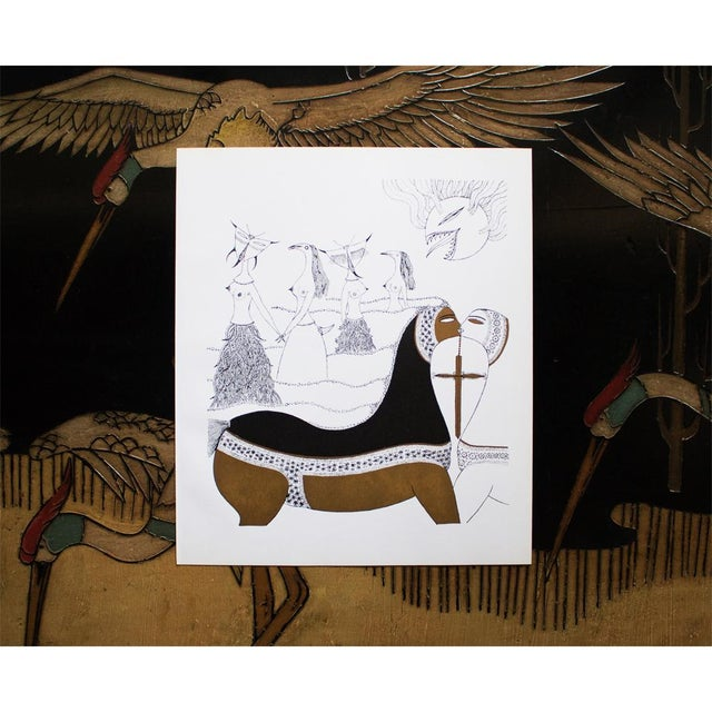 Rare fantastic original period gold leaf offset lithograph Composition No. 4 by Swedish surrealist artist Max Walter...