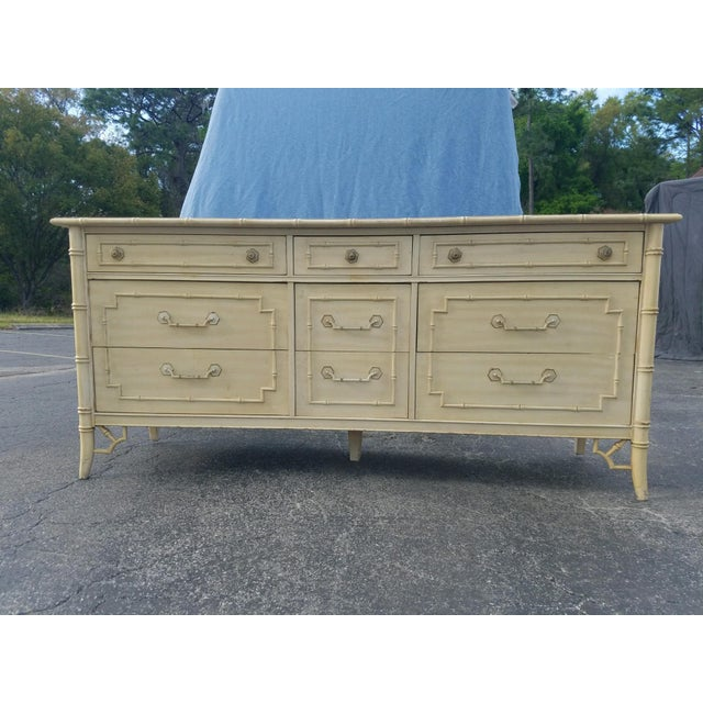 Thomasville bamboo style wood dresser in great condition for its age. This dresser is clean inside, and the drawers slide...