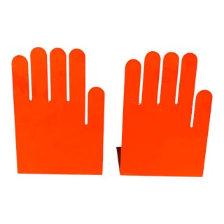 1980s Post Modern Orange Hand Bookends - a Pair For Sale