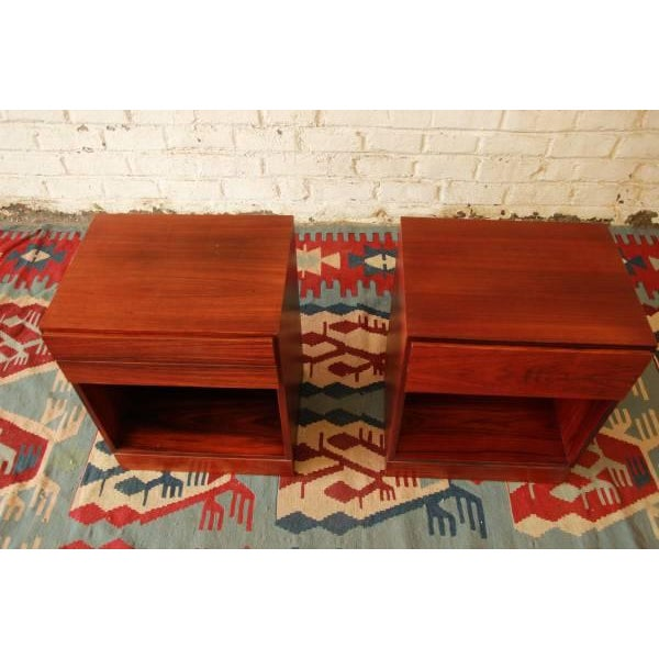 Danish Modern Rosewood Nightstands - Pair - Image 5 of 6