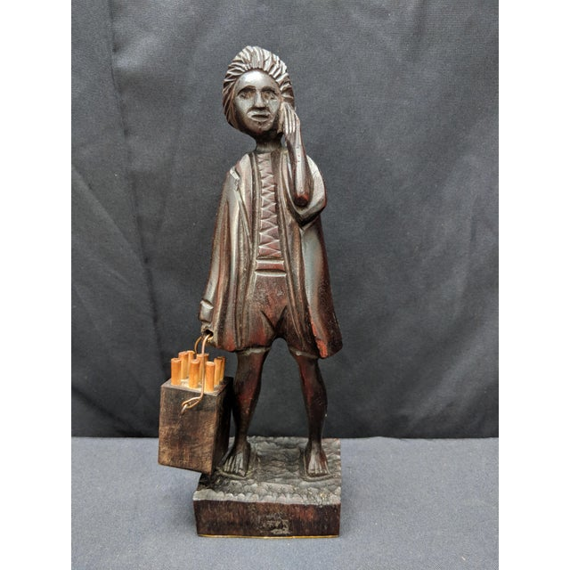 Wood Hand Carved Wooden Man With a Bucket Statue Figurine For Sale - Image 7 of 7