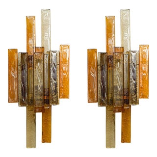 Stacked Glass Sconces by Svend Aage Holm Sorensen - a Pair For Sale