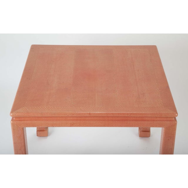 Coral Colored Snake Skin Games Table by Karl Springer For Sale In New York - Image 6 of 12