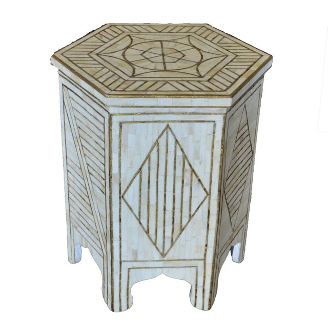 2010s White Bone & Brass Side Table For Sale - Image 5 of 5
