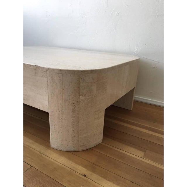 Polished Italian Travertine Cocktail Table For Sale In Palm Springs - Image 6 of 9