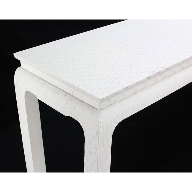 Baker Furniture Company Grass Cloth Covered White Lacquer Console Sofa Table by Baker For Sale - Image 4 of 10