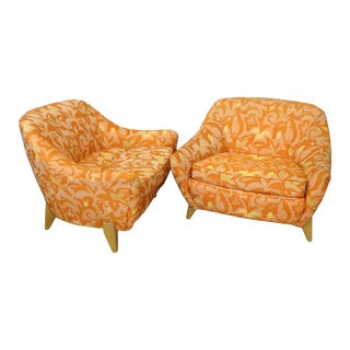 Paul Laszlo Attributed Low Wide California Modern Lounge Chairs For Sale