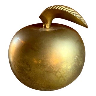 Solid Brass Apple Paperweight, Teacher Gift For Sale